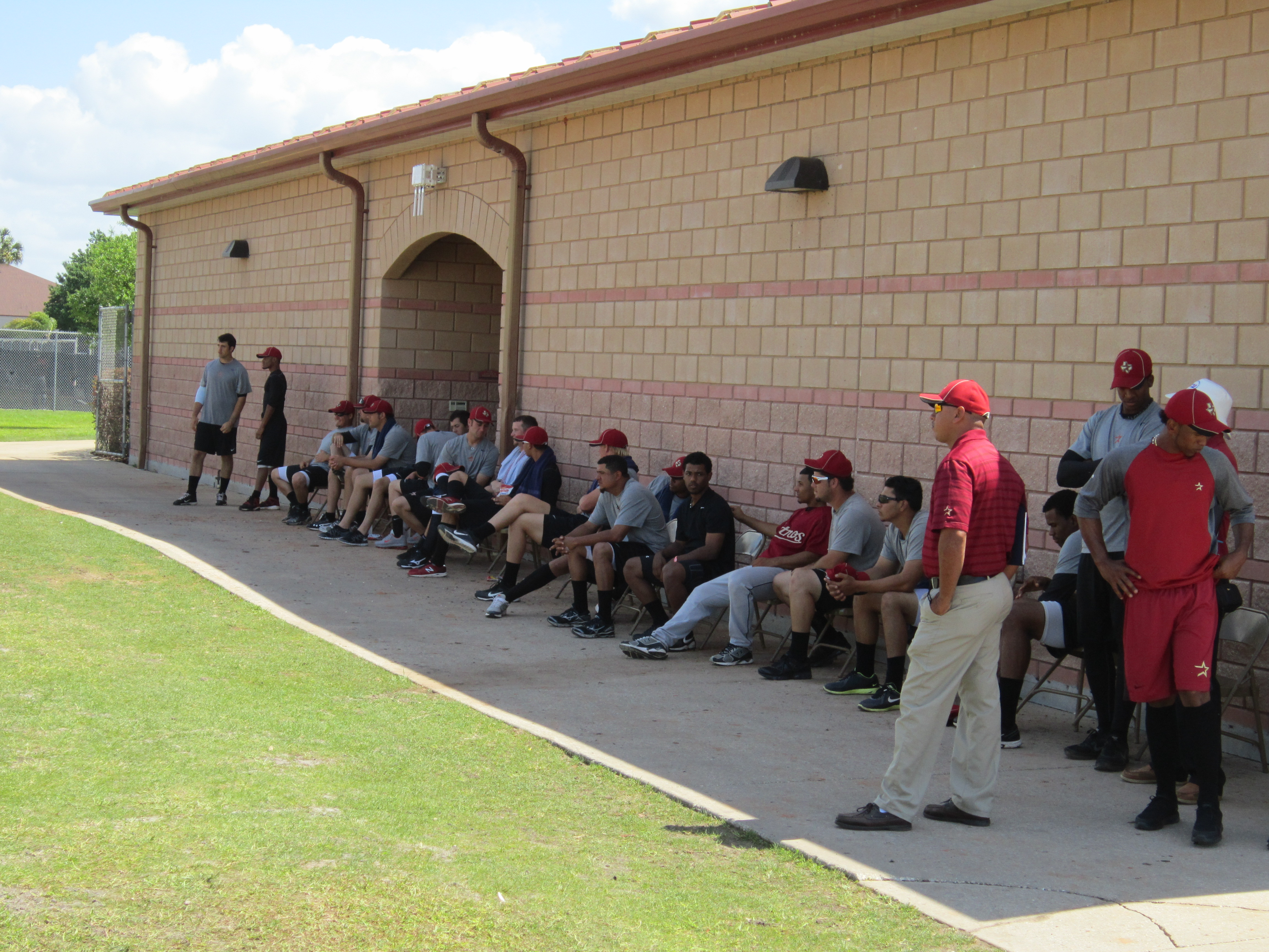 More minor leaguers watching the scrimmage