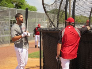 J.D. Martinez also taking some extra batting practice. He did not play in the major league game.