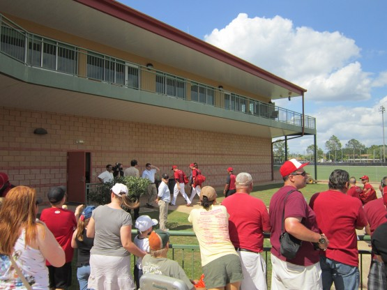 Players enter the clubhouse following the game