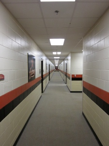 Long hallway of the Astros minor league clubhouse.