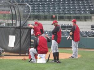 Batting practice on the major league side.