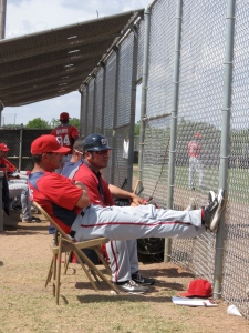 Ex-Red Sox Brian Daubauch (wearing the helmet). He manages the Nationals long season Class-A Hagerstown Suns. Daubach managed collegiate Pittsfield Colonials team in 2010
