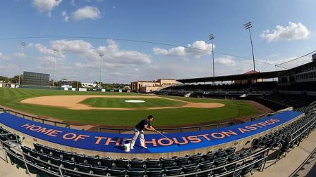 Freshly painted Astros dugout (AP Photo/David J. Phillip)