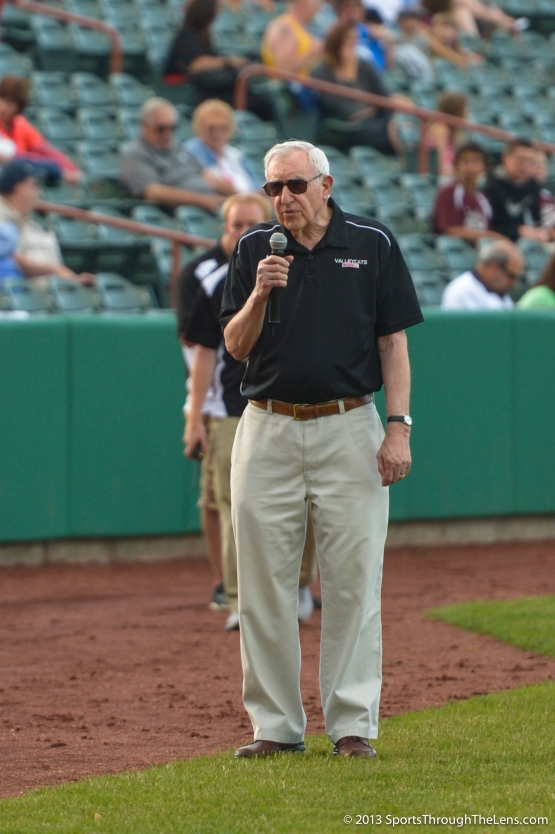 ValleyCats President Bill Gladstone addresses the crowd