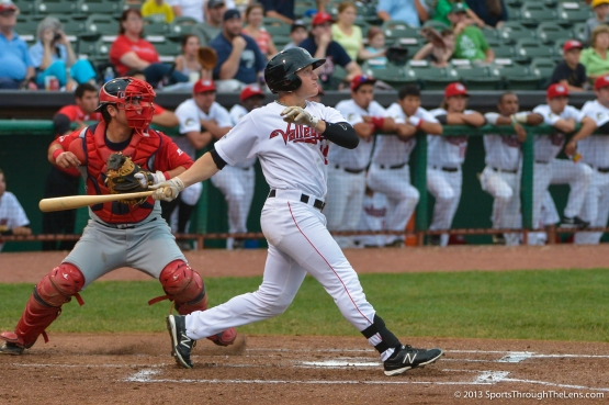 Dan Gulbransen connects for one of his three hits last night