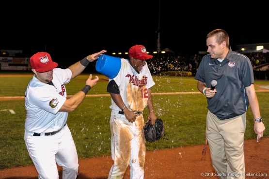 Ronnie Mitchell gets an on-field shower from teammate Michael Martinez after being named the Player of the Game