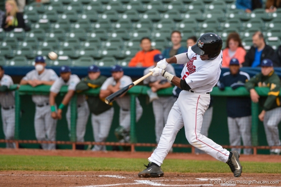 Tony Kemp mid-swing during his first professional HR that came in the 3rd inning of Tuesday night's win