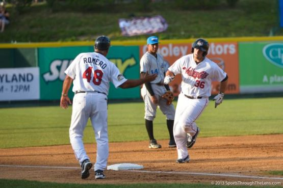Michael Martinez rounds third after his 1st-inning homer