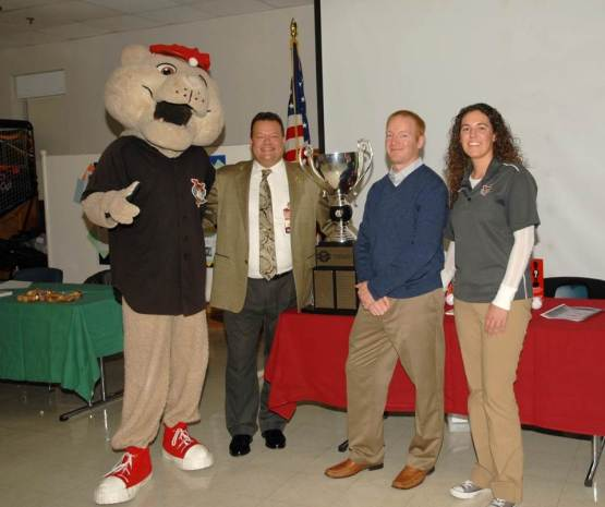 SouthPaw with Peter Potter, Public Affairs Director with the Albany VA; Matt Callahan, ValleyCats Assistant General Manager; Michelle Skinner, Community Relations Manager.