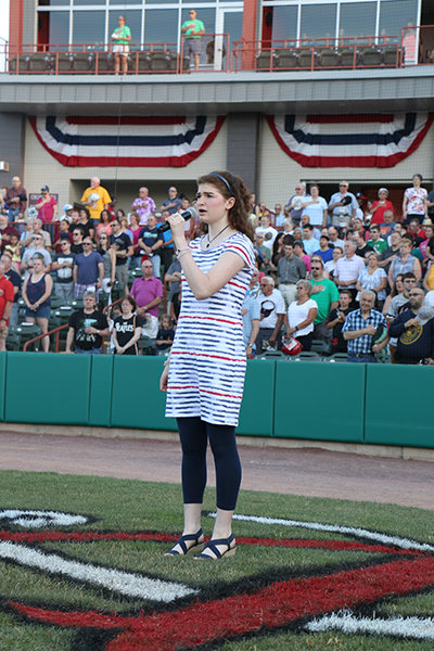 Crossgates anthem finalist Lydia Murphy singing prior to Saturday's night game.