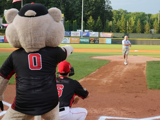 Regional Foodbank of Northeastern New York Executive Director Mark Quandt was one of six people to throw out a ceremonial first pitch.