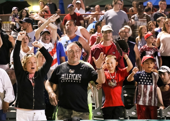"Many fans were dressed in patriotic gear for the Independence Day game at ""The Joe!"""
