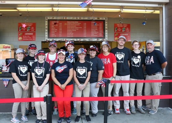 The first base concession staff sported patriotic attire for Independence Day!