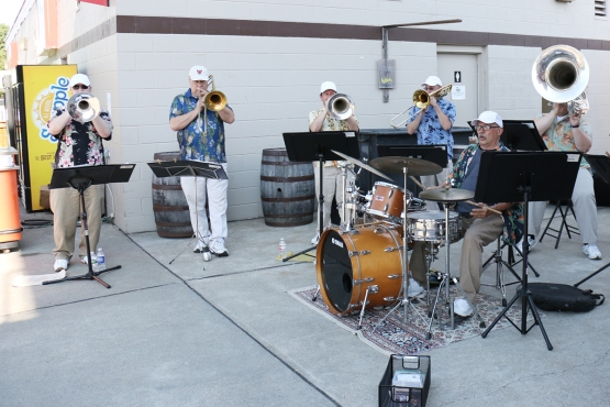 Brass-O-Mania provided the Tunes for Tuesday in front of the Brown's kiosk.