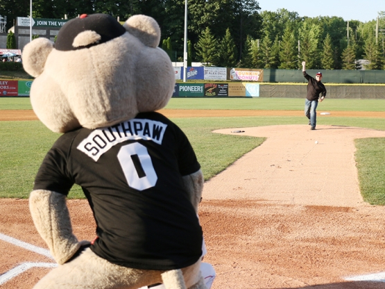 Phil Fitzpatrick, Executive Chef of the Century House,  threw out a ceremonial first pitch with SouthPaw serving as the umpire!